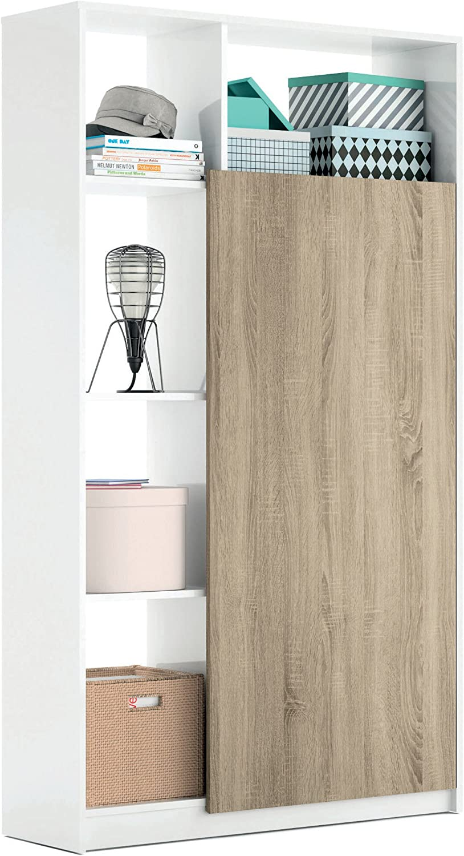 Armario recibidor Color Blanco Brillo y Cambrian con 5 estantes y Barra Interior, Mueble de Entrada. 187cm Altura x 100cm Ancho x 35cm Fondo