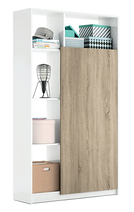 Armario recibidor Color Blanco Brillo y Cambrian con 5 estantes y Barra Interior, Mueble de
