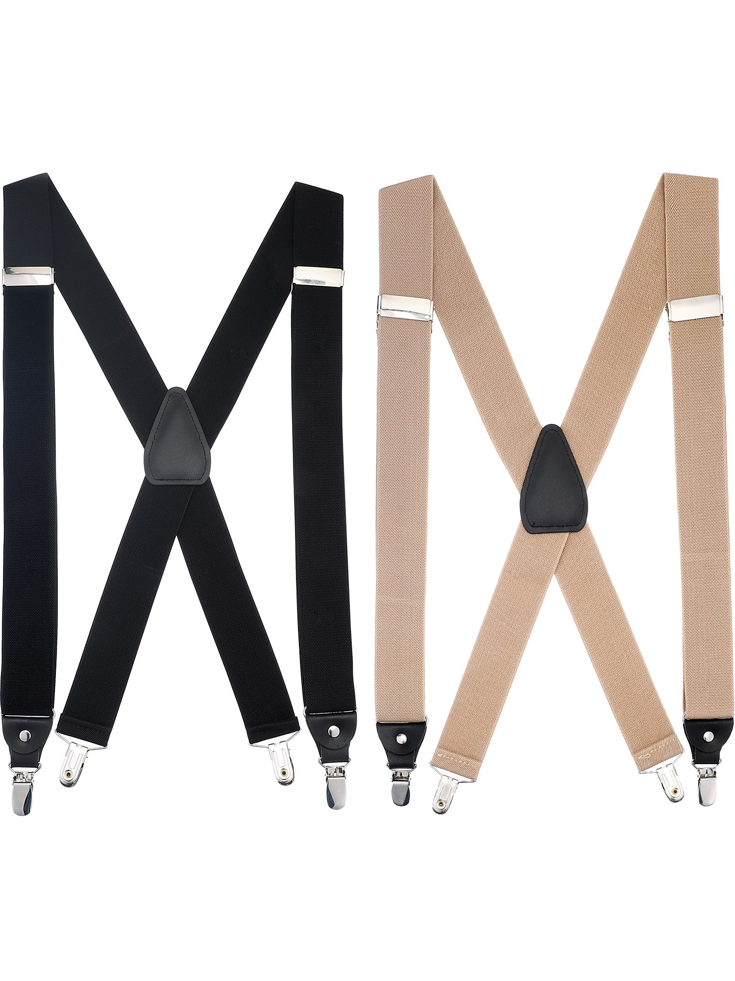 Boao 2 Pieces Utility Suspenders X Shape with 4 Clips Adjustable Elastic X-back Clips for Men (Black and Khaki) by BOAO