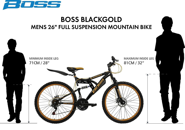 98f6f8fe787 BOSS Men's Mountain Bike - (Black/Gold, 12+ Years, 18 Inch, 26 Inch):  Amazon.co.uk: Sports & Outdoors