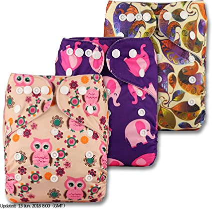 Littles /& Bloomz Fastener: Popper with 3 Microfibre Inserts Reusable Pocket Cloth Nappy Set of 3 Patterns 329