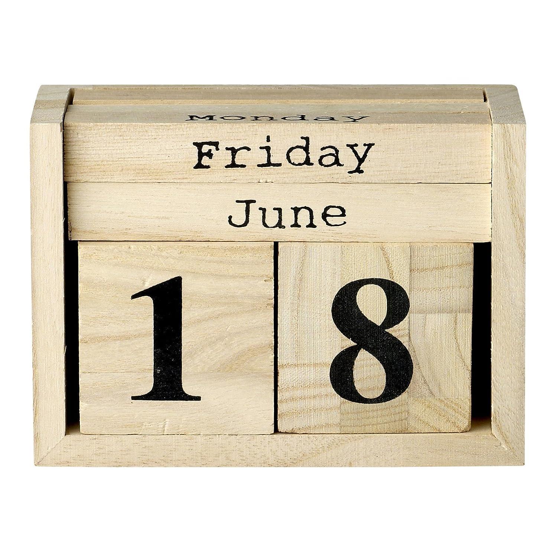 Bloomingville Perpetual Calendar Wooden Natural