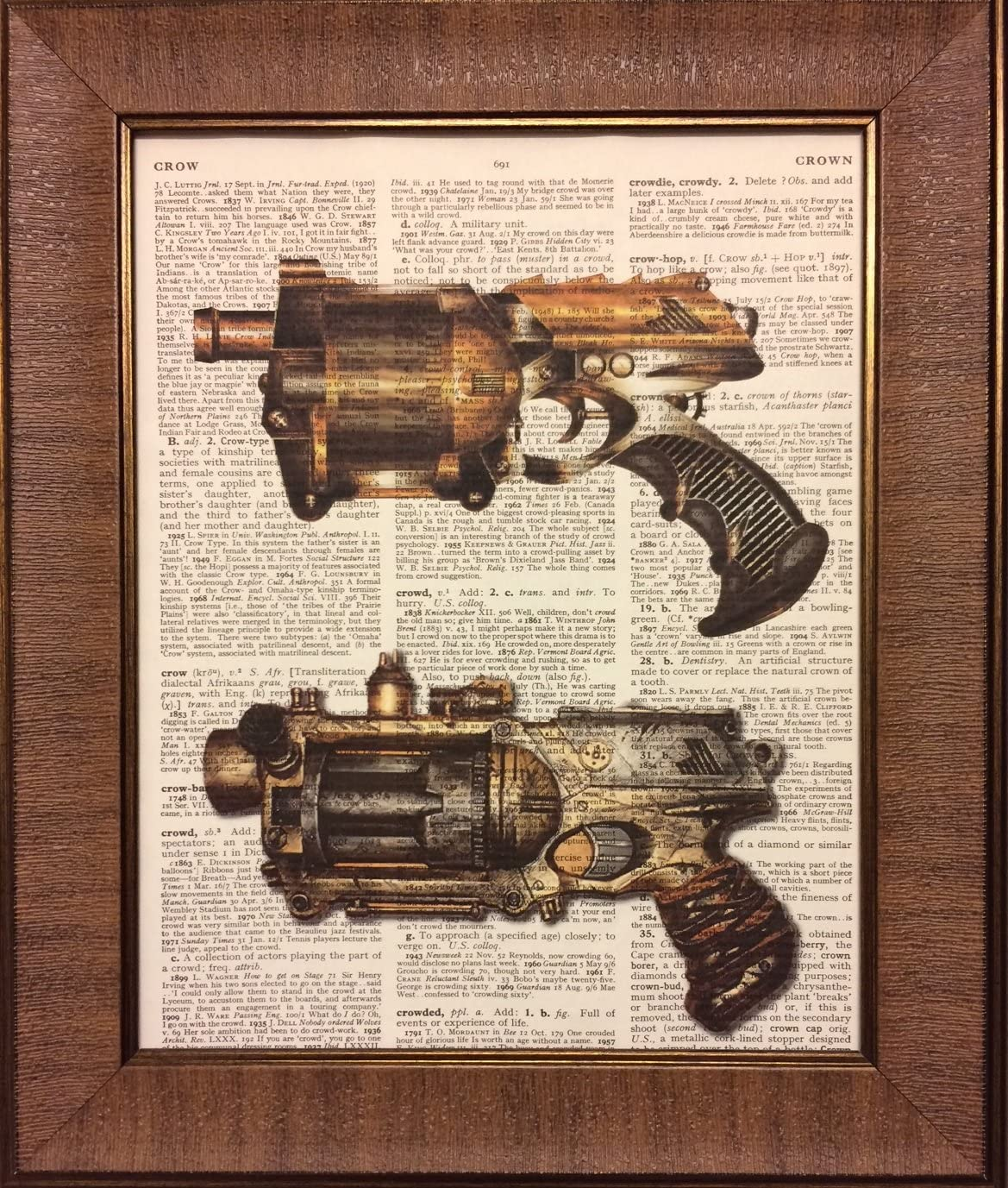 Ready Prints Steampunk Pistols Dictionary Book Page Artwork Print Picture Poster Home Office Bedroom Nursery Kitchen Wall Decor - unframed