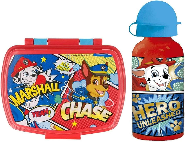 CM Set Botella de Agua de Aluminio Infantil y Fiambrera para Colocar los almuerzos - para niñas, cantimplora a Prueba de Fugas sin BPA 400ml (Azul-Pat)