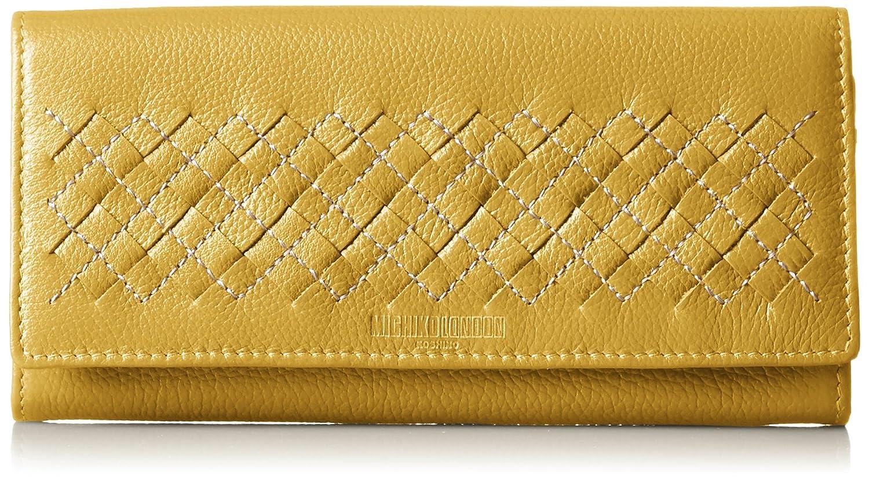 [ミチコロンドン] MICHIKOLONDON かぶせ長財布 ロングウォレット レディス カードポケット12枚 お札仕切りあり 本革 B01D9MTXWG イエロー イエロー
