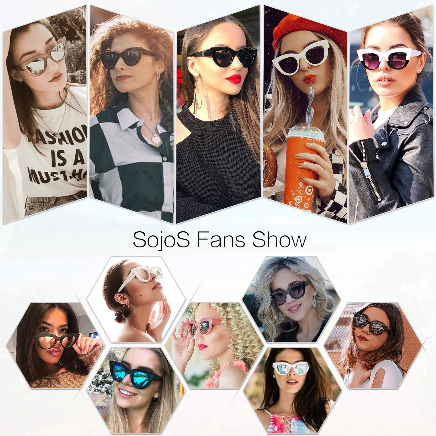 45e5a544a44 SOJOS Retro Vintage Cateye Sunglasses for Women Plastic Frame ...