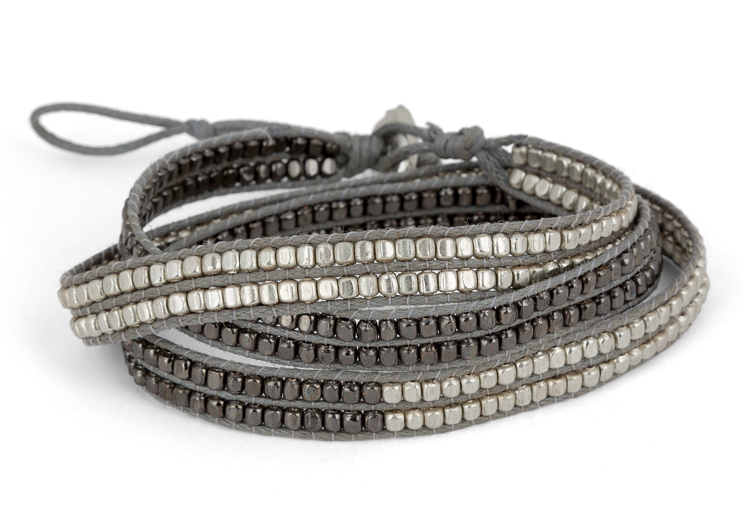 New! Handmade Boho 3 Wrap Bracelet Silver and Gun Metal Silver for Women | SPUNKYsoul Collection