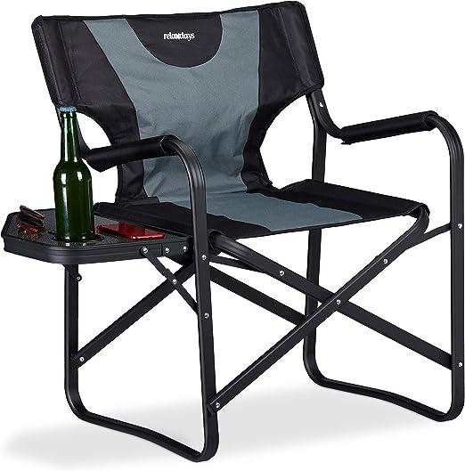 Relaxdays, Negro-Gris, Silla Plegable con Mesa y Posavasos para Camping, Jardín y Pesca, Aluminio-PVC, 78 x 86 x 52,5 cm: Amazon.es: Jardín