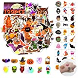 QBK Halloween Stickers(50 Pcs)&Halloween Temporary Tattoos(60 Pcs&Halloween Led Brooches(12 Pcs) Happy Halloween Decorations,