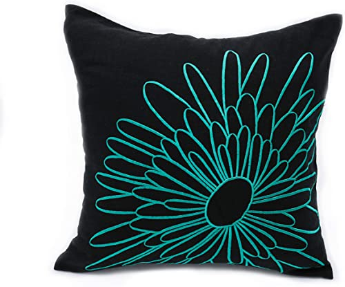 KainKain Throw Pillow Cover Teal Turquoise, Flower Pillow case, Dark Brown Sqaure Cushion Cover Embroidered Handmade, Modern Floral Home Decor Accent 26 inch x 26 inch