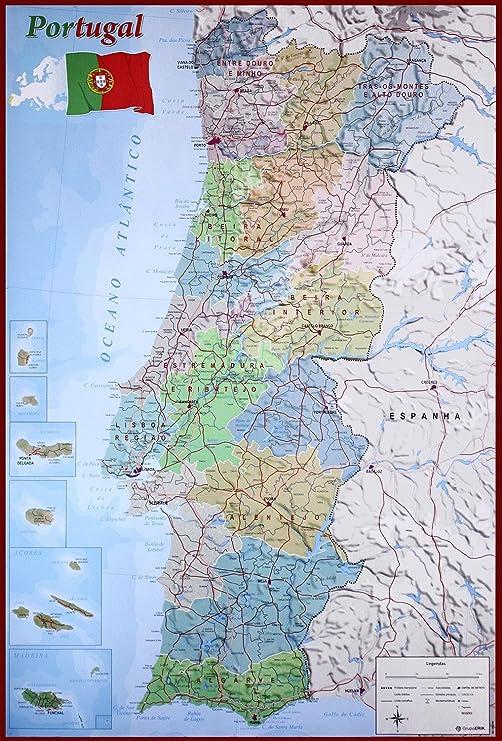 Close Up Mapa Físico Político de Portugal (61cm x 91,5cm) + 1 póster Sorpresa de Regalo: Amazon.es: Hogar