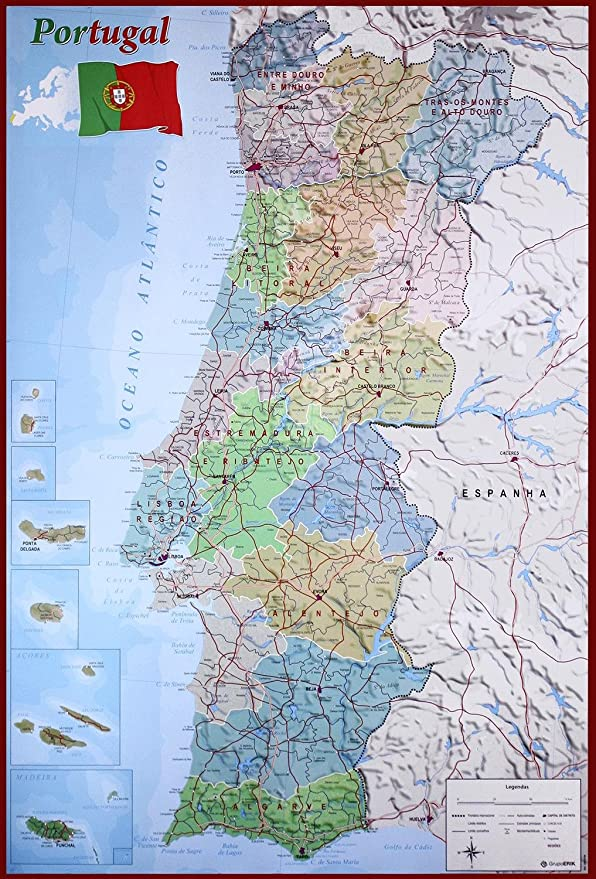 Close Up Mapa De Portugal Poster Map Of Portugal 61cm X 91 5cm