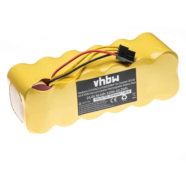 vhbw Batería NiMH 3000mAh (14.4V) para robot aspidador doméstico Profimaster Robot 2712 como LP43SC2000P.