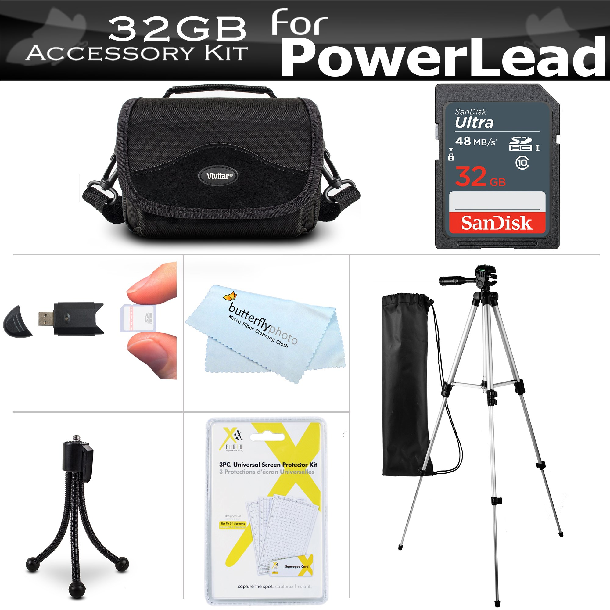 32GB Accessories Bundle Kit For PowerLead Puto PLD078, PLD009, PLD003, PLD010, PLD002, PLD001, PL301, CAM06, PL-C05, Dcam PL-C10, Dcam PL-C20, Besteker Camcorder Includes 32GB SD Card + Case + Tripod