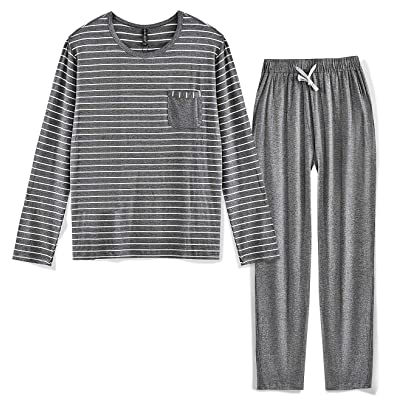 80 Manufacturing Men's Pajama Set Long Sleeve Sleepwear Striped Grey Cotton Casual Loungewear at Amazon Men's Clothing store