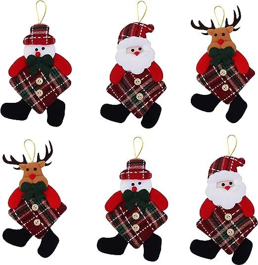 Adornos Arbol Navidad (Pack de 6) - Santa, Muñeco de Nieve Y Reno ...
