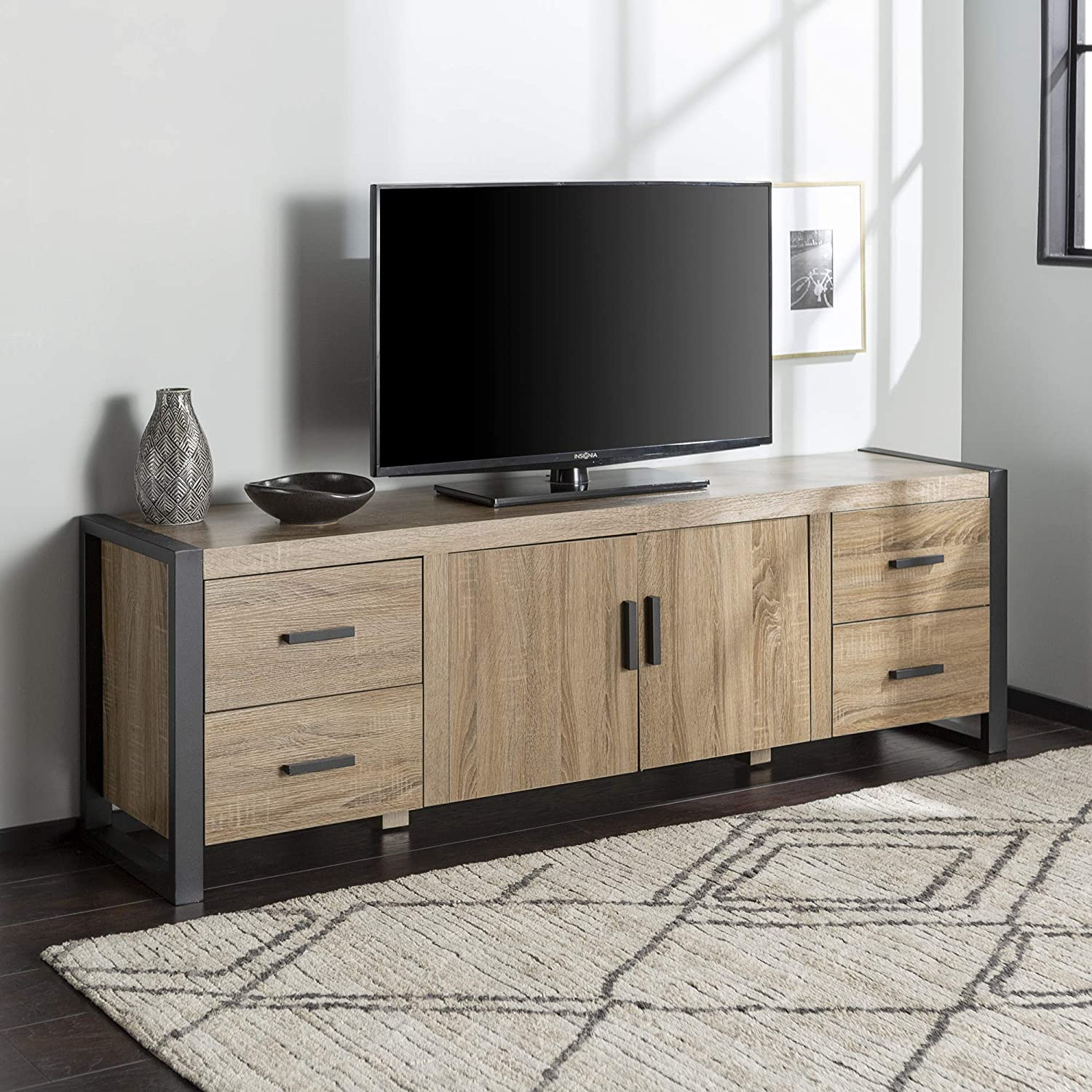 Amazon Com Walker Edison Industrial Modern Wood Universal Stand With Cabinet Doors For Tv S Up To 80 Living Room Storage Shelves Entertainment Center 70 Inch Grey Brown Furniture Decor