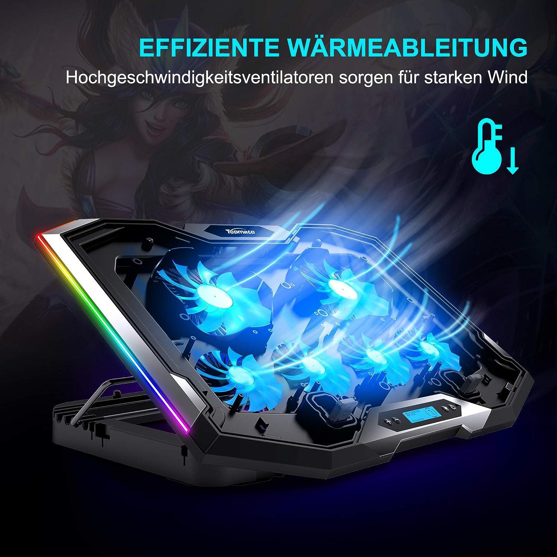 TopMate C11 Coussin de refroidissement pour ordinateur portable avec /éclairage RVB Compatible avec ordinateur portable 11-17,3 6 ventilateurs vent fort et 7 modes d/éclairage