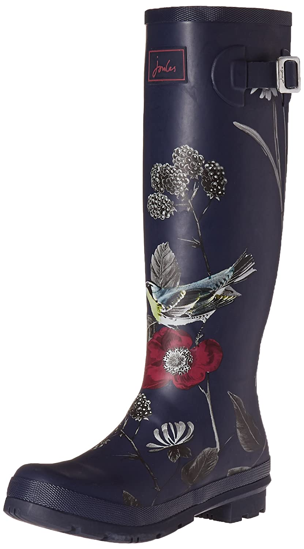 Joules Women's Welly Print Rain Boot B01F00CTS0 9 B(M) US|French Navy Birdberry