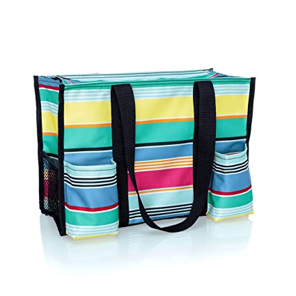 f0869a4d82e2 Thirty One Zip-Top Organizing Tote in Patio Pop - No Monogram - 4451