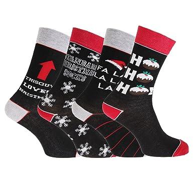 4 pares de calcetines con motivos navideños para hombre (39-45/Rojo/