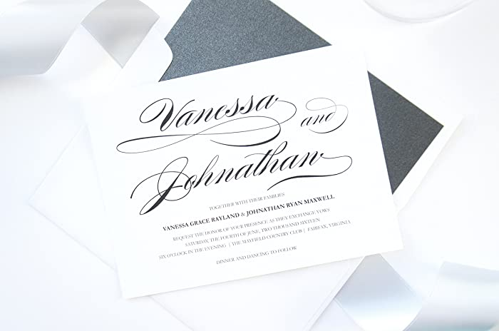 amazon com black calligraphy wedding invitations sample set handmade