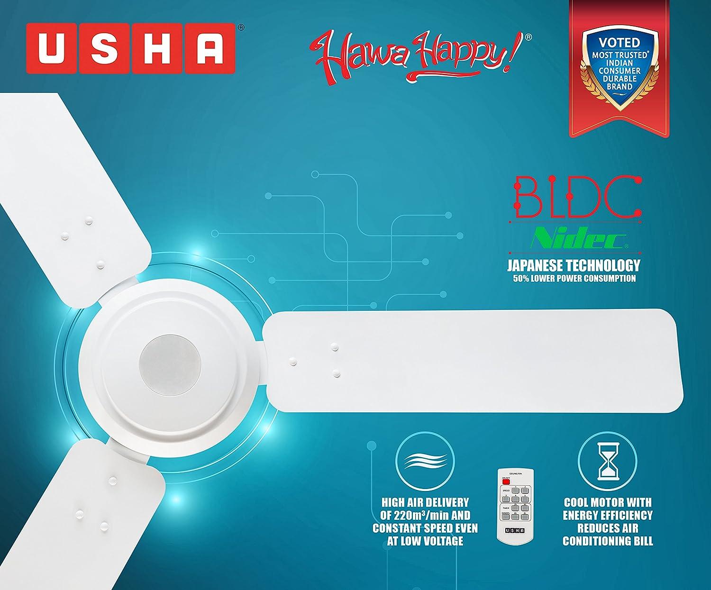 580718704bc Buy Usha Energia 1200mm Supertech Ceiling Fan (Rich White