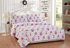 Elegant Home Multicolors Fairy Tale Princess Castle Design Fun Printed Sheet Set with Pillowcases Flat Fitted Sheet for Girls / Kids/ Teens (Fairy Tales, Full Size)