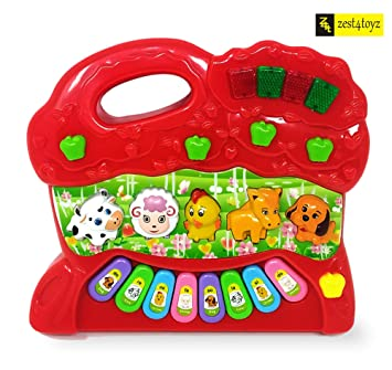 Portable Colorful Animal Farm Hand Piano Toy with Handle for Baby Toddlers