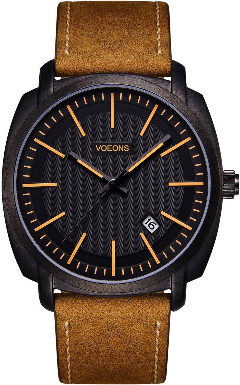 VOEONS Leather Watches for Mens Brown Genuine Leather Business Watch Analog Quartz Classical Casual Watches for Men, Teens, Waterproof, Calendar