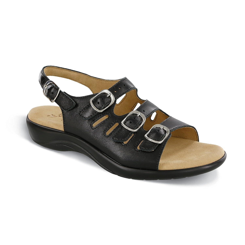 SAS Womens Mystic Open Toe Casual Slingback Sandals B01N0VFP1P 6.5 S - Slim (AAA) US|Black