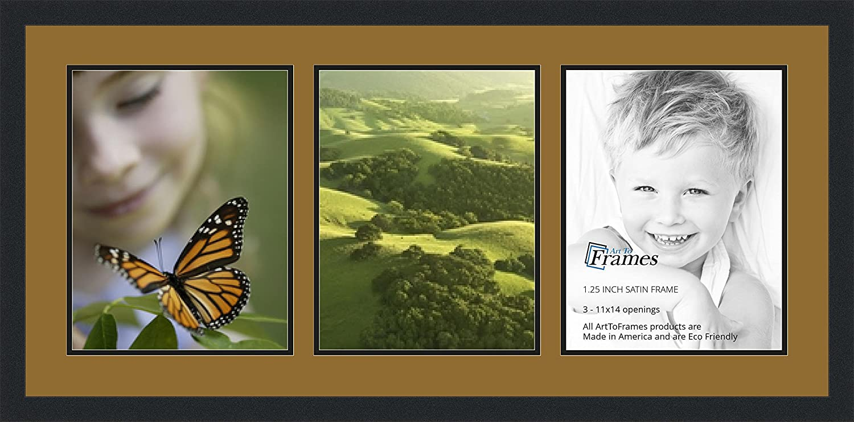 ArtToFrames アルファベット写真用額縁 12x18インチの開口部3つ 黒のサテン仕上げの額縁 3 - 8x12 パープル Double-Multimat-783-849/89-FRBW26079 B00G0411A8 3 - 8x12,グレープ