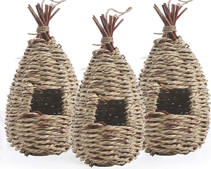 Emalie Bird Houses for Outside Hanging Set of 3 Hummingbird House with Rope for Outdoor Small Chickadee /& Bird Hut for Finch /& Canary Grass Hand Woven Birdhouse Waterdrop Shape Gardening Gift