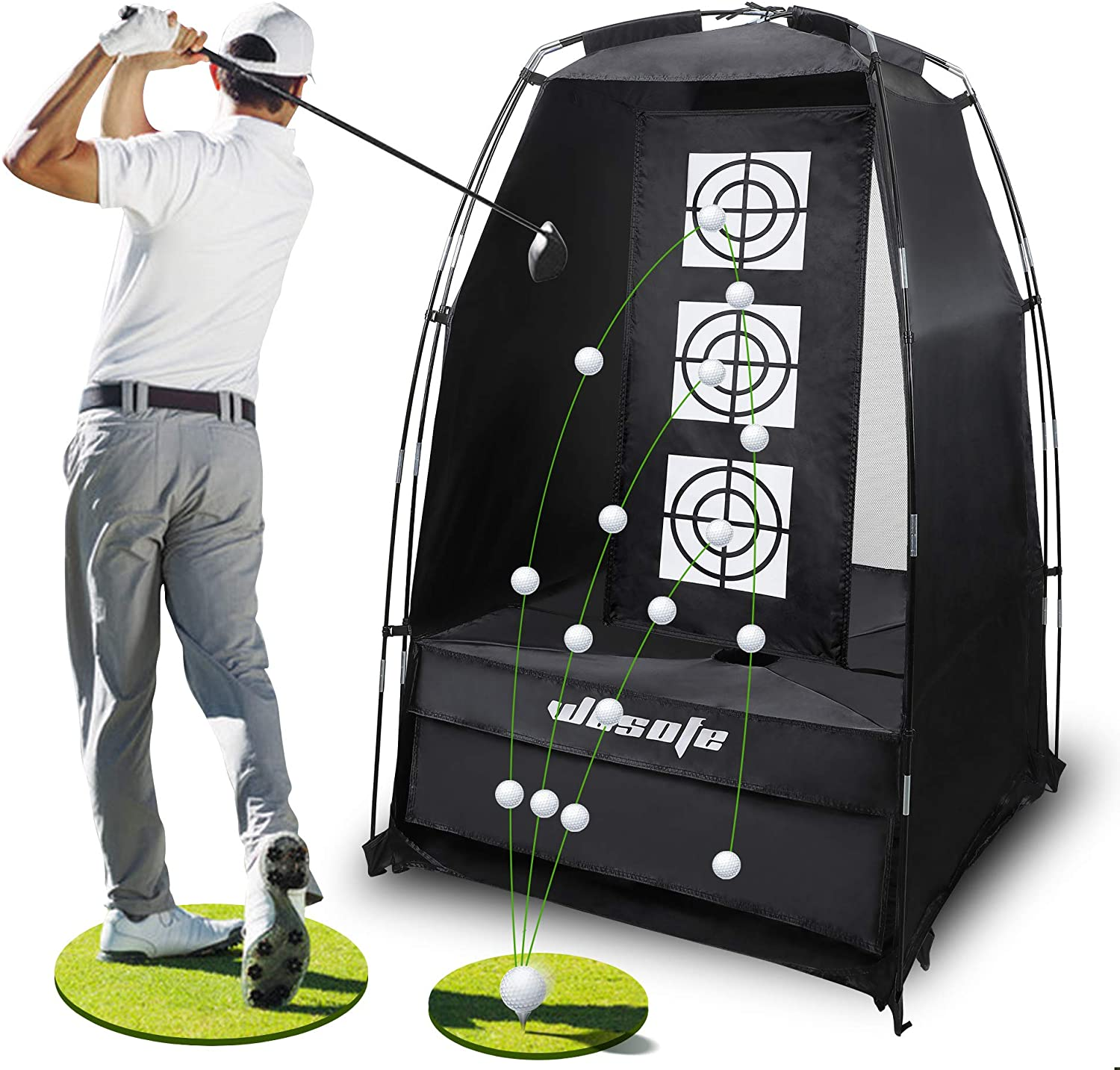 wosofe Golf Practice Driving Hitting Net 3.8 x 6.5Ft Chipping Professional 2 Target Backyard Indoor Home and Outdoor Use