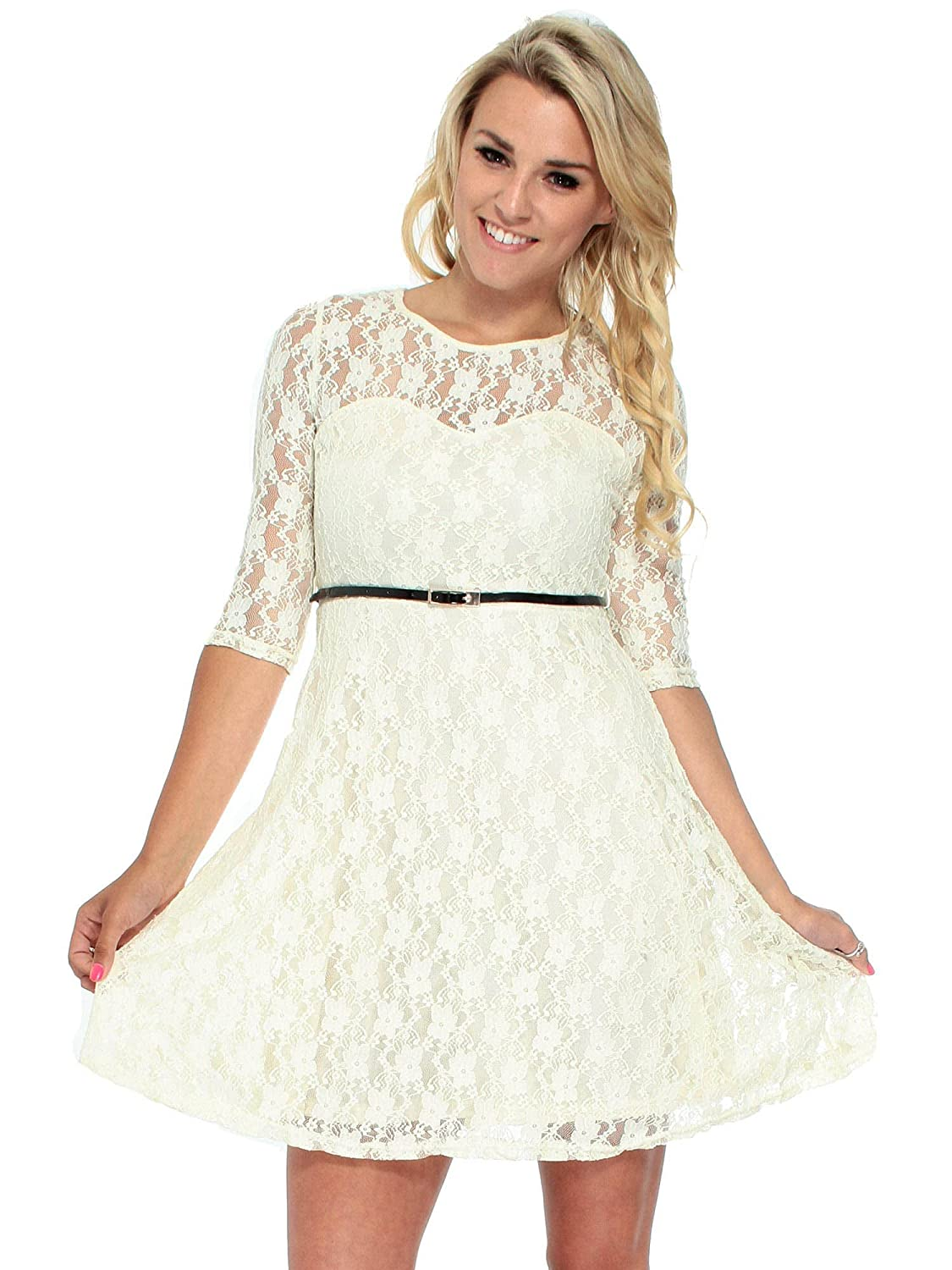 Women\'s Cute Sheer Lace Three-Fourth Sleeve Dress with Belt Decor at ...