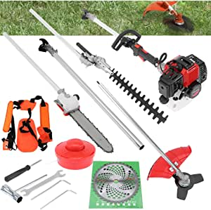 LINMOUA 5 in 1 52cc Petrol Hedge Trimmer Chainsaw Brush Cutter Pole Saw Multifunction Garden Tools Gas String Trimmer Included Brush Cutter, Pruner, Strimmer, Hedge Trimmer and Extension Pole Gifts
