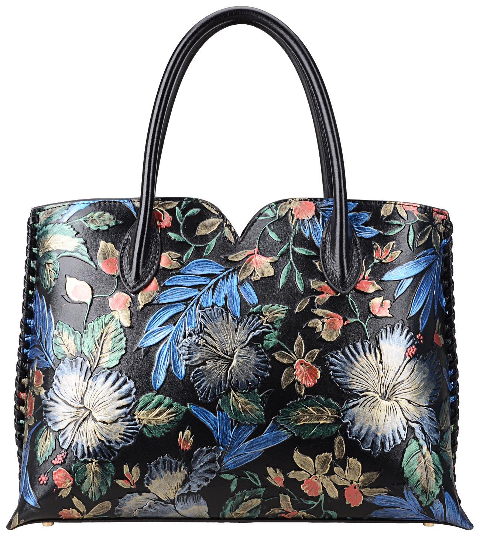Pijushi Designer Floral Purse Women's Genuine Leather Tote Handbags 65102 (Black Floral)