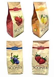 Sticky Fingers Bakeries, Variety Pack of 4, English Scone Mix, All Natural, Wild Blueberry, Apple Cinnamon, Lemon Poppyseed, Strawberry, Kosher Pack of 4, 15 Oz each