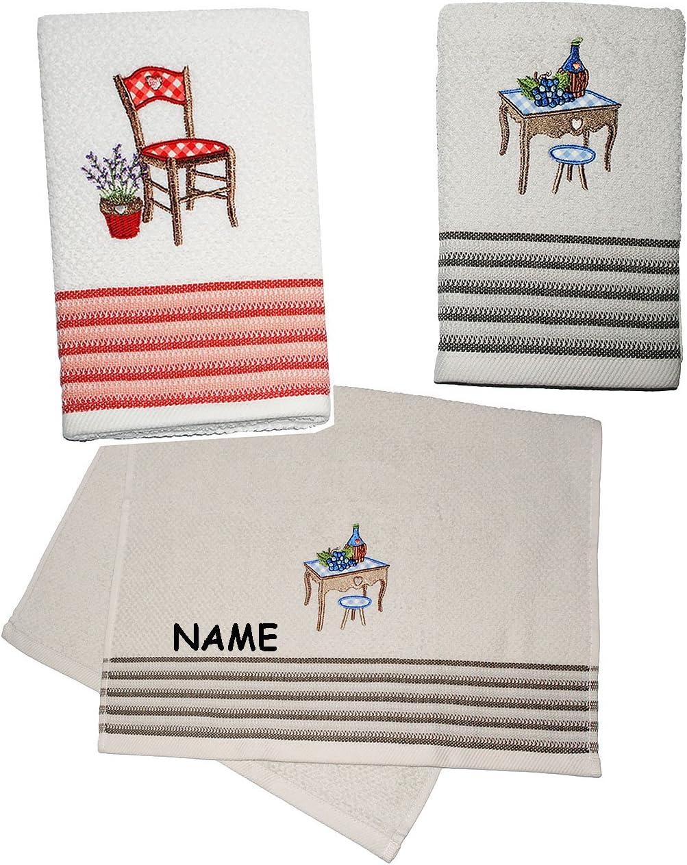 alles-meine.de GmbH 2 TLG Set /_ G/ästehandtuch // Geschirrtuch /& K/üchenhandtuch Stuhl /& Tisch Frottee Stoff 70 c.. Handtuch mit aufwendiger Stickerei 100 /% Baumwolle