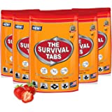 Survival Tabs 10-day Food Supply Emergency Food Ration 120 tabs Survival MREs for Disaster Preparedness for Earthquake Flood Tsunami Gluten Free and Non-GMO 25 Years Shelf Life - Strawberry Flavor
