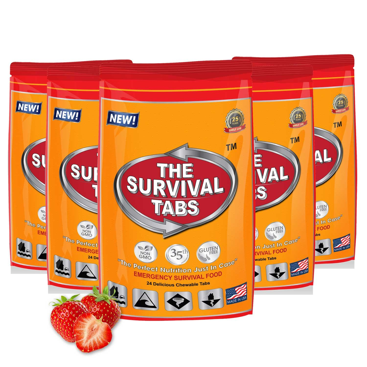 Food Supply Emergency Food Ration in 10 Days 120 tabs Survival MREs for Disaster Preparedness for Earthquake Flood Tsunami Gluten Free and Non-GMO 25 Years Shelf Life - Strawberry Flavor by The Survival Tabs