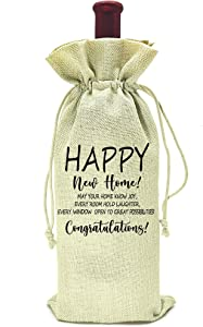 Housewarming Gifts,First New Home House Homeowner Gifts for Men, Women, mom,dad,daughter,son, Friends, Coworkers,Sweet home, happy new home congratulations,wine bag