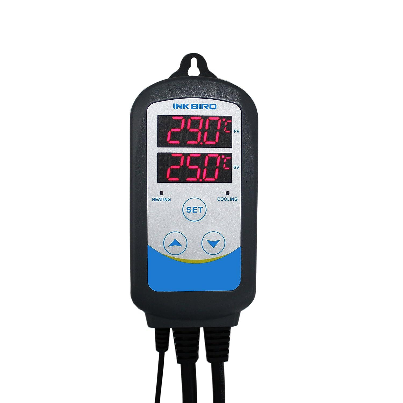Inkbird ITC-310T Digital Programable Enchufes Calefacción y Refrigeración Temperatura Controlador,Doble Rele Salida & Función de Tiempo(6 Período de ...
