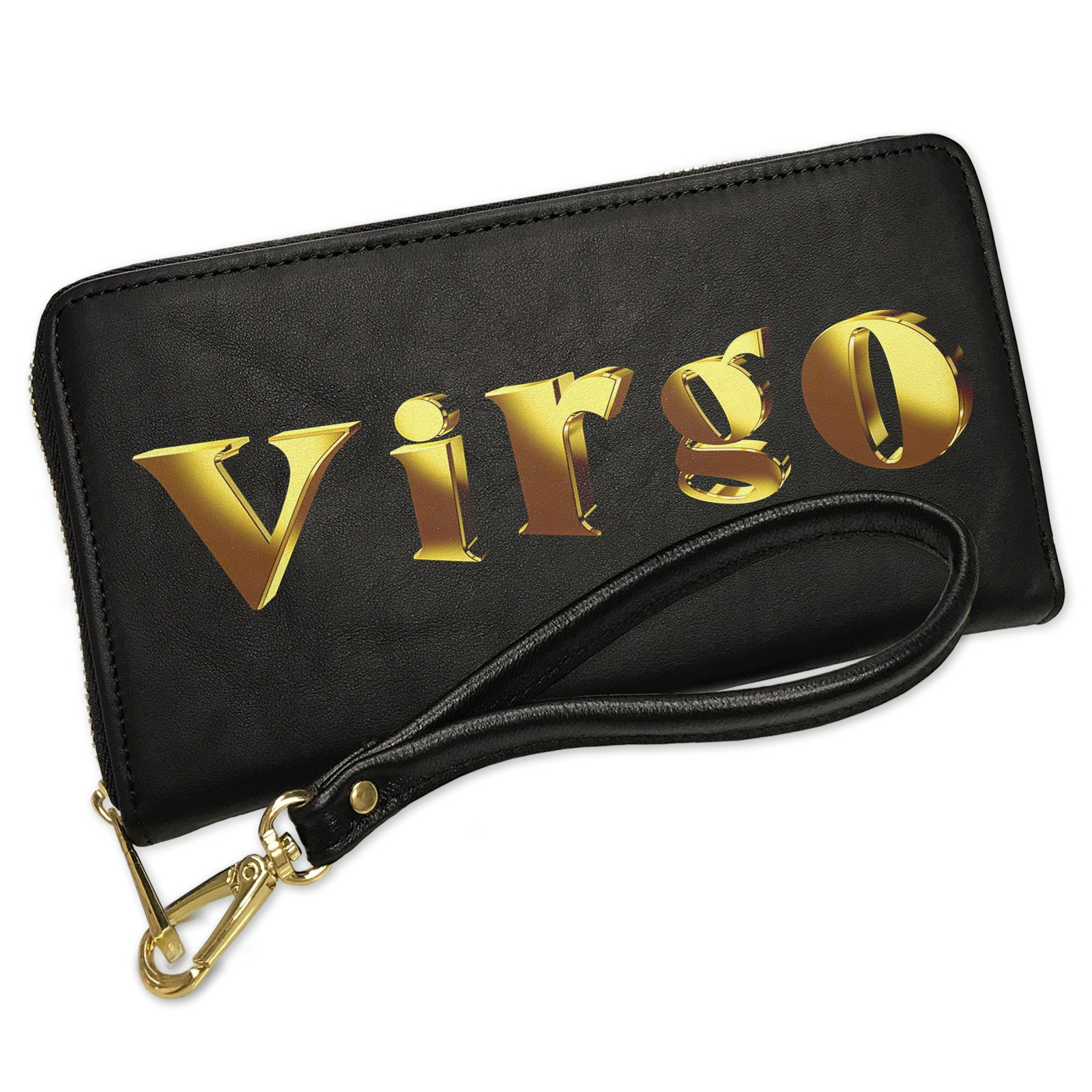 Wallet Clutch Virgo Printed Gold looking Lettering with Removable Wristlet Strap Neonblond