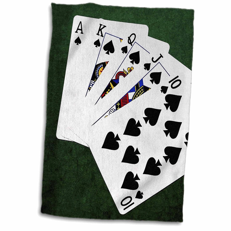 3dRosePoker Hands Four of A Kind Five Eight Towel 15 x 22