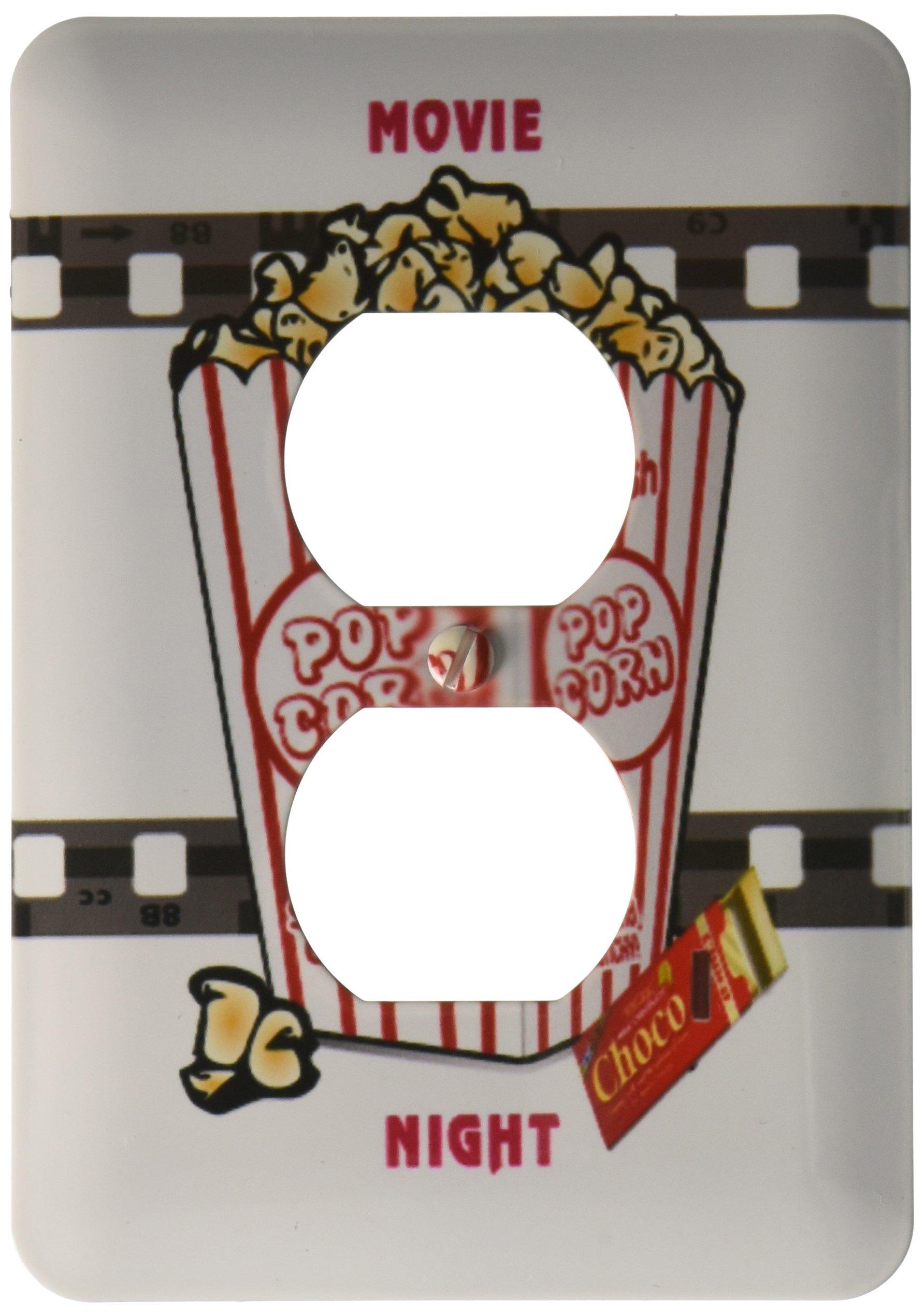 3dRose LLC lsp_109494_6 Movie Nigh with Choc Bar N Popcorn 2 Plug Outlet Cover