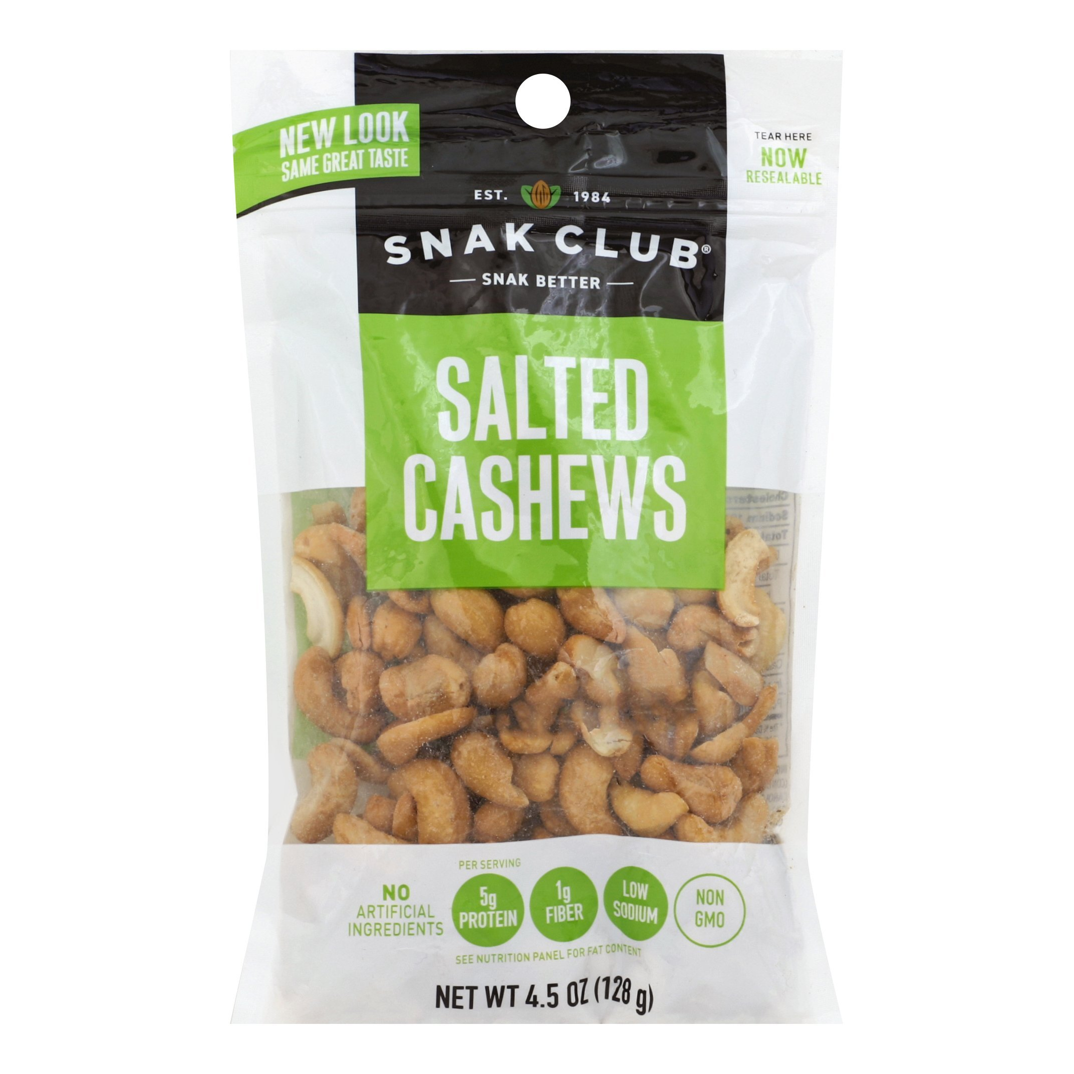 Snak Club All Natural Salted Cashews, Non-GMO, 4.5-Ounces, 6-Pack