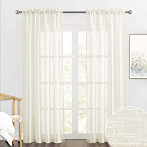 RYB HOME Semi Sheer Curtains - Linen Textured Wave Fabric Light Airy Privacy Sheer Backdrop Curtains for Bedroom Living Room Office Dining, Natural, 52 inch Wide x 84 inch Long, 2 Panels