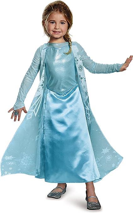 Deluxe Disney Frozen Elsa Princess Sparkle Costume Girls Fancy Dress Halloween