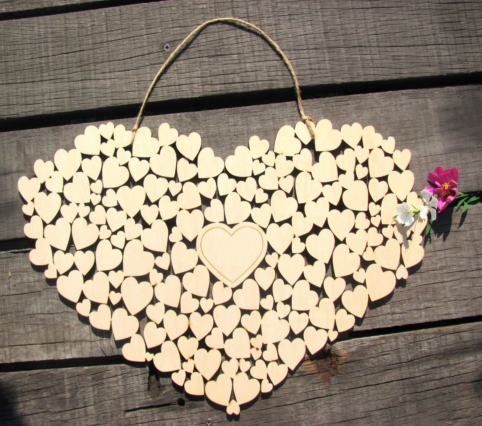 SL Crafts Wooden Heart Wedding guestbook Hanging Heart Guest Book Alternative (Natural Wood) by SL crafts (Image #1)
